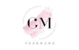 GM G M Watercolor Letter Logo Design con el modelo circular del cepillo Imagenes de archivo