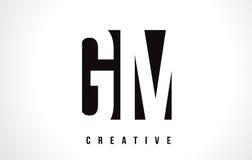 GM G M White Letter Logo Design avec la place noire Images libres de droits
