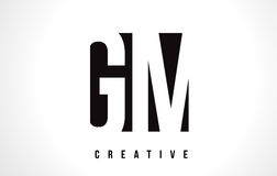 GM G M White Letter Logo Design with Black Square. Royalty Free Stock Images