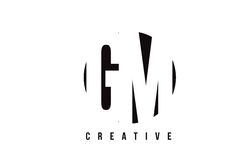 GM G M White Letter Logo Design with Circle Background. Stock Image