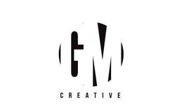 Gm-G M White Letter Logo Design med cirkelbakgrund Fotografering för Bildbyråer