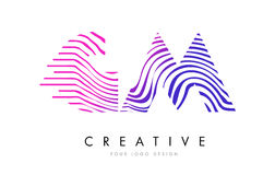 GM G M Zebra Lines Letter Logo Design with Magenta Colors Royalty Free Stock Photos