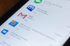 Gmail ikona w liście mobilni apps na pokazie pastylka pecet Ryazan Rosja, Marzec - 21, 2018 - Obraz Stock