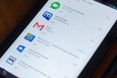 Gmail ikona w liście mobilni apps na pokazie pastylka pecet Ryazan Rosja, Marzec - 21, 2018 - Zdjęcia Royalty Free