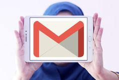 Gmail logo. Logo of Gmail on samsung tablet holded by arab muslim woman. Gmail is a free, advertising-supported email service developed by Google. Users can Royalty Free Stock Images
