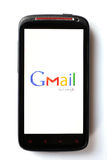 Gmail phone. Bucharest, Romania - March 28, 2012: Close-up shot of an Android smartphone with the Gmail logo displayed on the screen. Gmail is a free email Stock Image