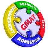 GMAT Постдипломное испытание допущения управления метка в форме головоломки иллюстрация вектора