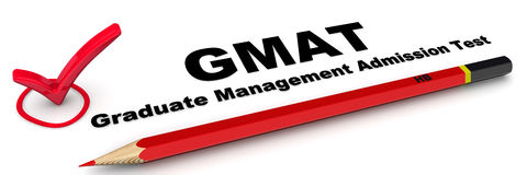 GMAT. Graduate Management Admission Test. The check mark. The check mark `GMAT. Graduate Management Admission Test` with red pencil on white surface. Isolated royalty free illustration