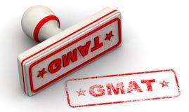 GMAT. Graduate Management Admission Test. Seal and imprint. Red seal and imprint `GMAT - Graduate Management Admission Test` on white surface. Isolated. 3D stock illustration