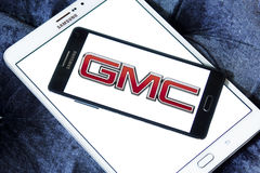 Gmc car logo. Logo of gmc car brand on samsung mobile phone a5 stock photo