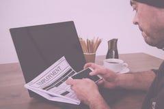 Gmeranie dla nowego pracy lub zatrudnienia rocznika Retro filtra obraz stock