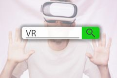 Gmeranie zakładka na górze pojęcie wizerunku z słowem VR g obraz royalty free