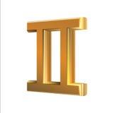 Géminis de oro de la muestra del zodiaco Foto de archivo