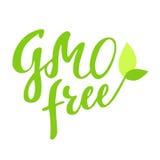 GMO自由手拉的商标,标签,与叶子和新芽 导航例证食物和饮料的,餐馆,菜单eps 10 库存图片