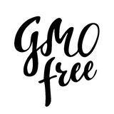 GMO自由手拉的商标,标签 导航例证食物和饮料的,餐馆,菜单,生物市场eps 10 库存图片