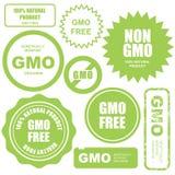 GMO自由邮票、贴纸和标签 免版税库存图片