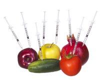 GMO食物概念。基因上修改过的水果和蔬菜与被隔绝的注射器。基因射入 免版税库存图片