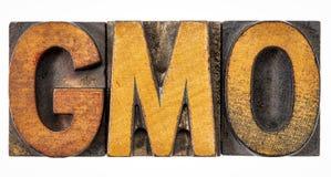 GMO acronym in vintage wood type Royalty Free Stock Photo