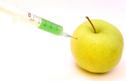 GMO apple. Concept image for GMO royalty free stock photography