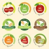 GMO Bezpłatny GMO i organicznie gwaranci etykietka Non przylepia etykietkę emblemata majcheru Zdjęcie Royalty Free