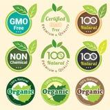 GMO Bezpłatny GMO i organicznie gwaranci etykietka Non przylepia etykietkę emblemata majcheru Obrazy Royalty Free