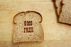 GMO Bread text Royalty Free Stock Photography