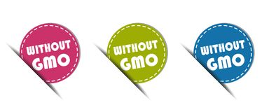 Without GMO Button - Colorful Vector Illustration - Isolated On White Background royalty free illustration