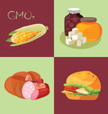 GMO-containing foods, sweets, sausages and fast food - food is h. GMO-containing foods, sweets, sausages and fast food- food is harmful to the intestines. For Stock Images