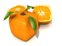 GMO cubic orange. Orange fruit with a cubic shape on a neutral background Royalty Free Stock Images