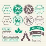 GMO en geplaatste Soja vrije zegels Royalty-vrije Stock Afbeeldingen