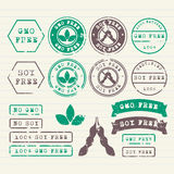 GMO et timbres gratuits de soja réglés Images libres de droits