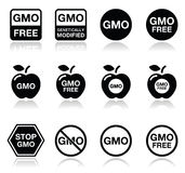 GMO food, no GMO or GMO free icons set Stock Image