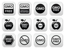 GMO food, no GMO or GMO free icons set Royalty Free Stock Image