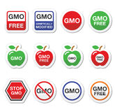 GMO food, no GMO or GMO free icons set Stock Photos