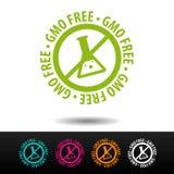 GMO free badge, logo, icon. Flat illustration on white background. Can be used business company. GMO free badge, logo, icon. Flat illustration on white stock illustration
