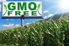 GMO Free - Billboard in a Corn Field Royalty Free Stock Photos