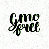 GMO free hand drawn logo, label. Vector illustration for food and drink, restaurants, menu, bio markets and organic Royalty Free Stock Images