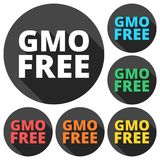 GMO Free icons set with long shadow Stock Photos