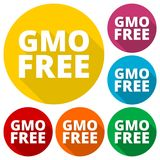 GMO Free icons set with long shadow Stock Images