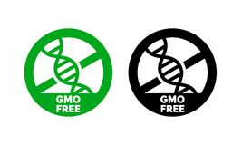 GMO free label  DNA vector icon for product package. GMO free label with DNA vector icon for non gmo product package or GMO free natural organic food design Stock Image