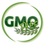 Gmo free label. Vector illustration of the pram - baby carriage stock illustration