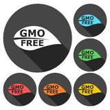 GMO Free Leaf icons set with long shadow. Vector icon Royalty Free Stock Photography