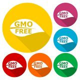GMO Free Leaf icons set with long shadow. Vector icon Royalty Free Stock Images