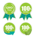 Gmo Free and 100 Natural Label Set Vector Illustration. EPS10 Royalty Free Stock Photography