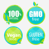 Gmo Free, 100 Natutal, Vegan Food and Gluten Free Label Set. Vector Illustration EPS10 royalty free illustration