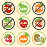 GMO Free Non GMO guarantee tag label emblem sticker red green ap Stock Image