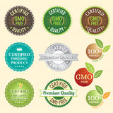 GMO Free Non GMO and organic guarantee tag logo label emblem sticker Stock Image