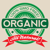 GMO Free Organic Vector Label Isolated. Isolated vector label illustration reading '100% GMO Free', Organic, and 'All Natural Stock Photography