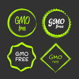 Gmo free sign. Gmo free green and white vector sign logo symbol Stock Image