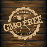 GMO free stamp on wood Royalty Free Stock Image
